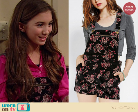 Kimchi Blue Velvet Floral Overall Shorts worn by Rowan Blanchard on Girl Meets World