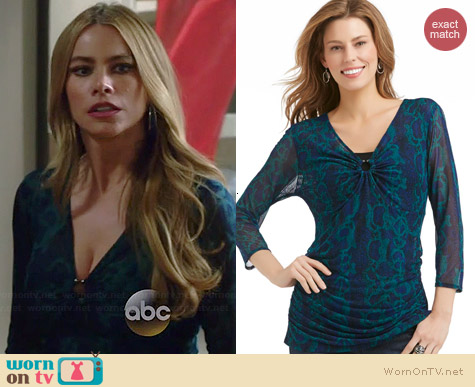 KMart Abstract Animal Print Shirred Top worn by Sofia Vergara on Modern Family