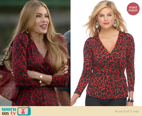 Sofia by Sofia Vergara for K-Mart Surplice Wrap Top in Cheetah print worn by Gloria on Modern Family