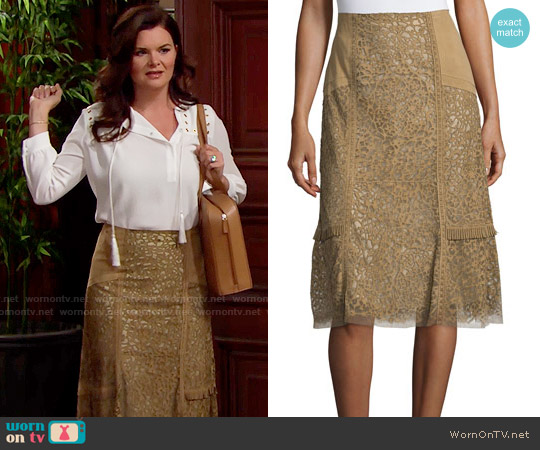 Kobi Halperin Daphne Laser-Cut Leather Skirt worn by Katie Logan on The Bold & the Beautiful