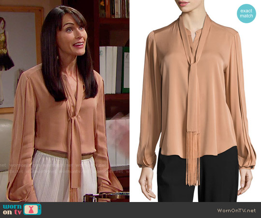 Kobi Halperin Tara Fringed Tie-Neck Stretch-Silk Blouse worn by Rena Sofer on The Bold & the Beautiful
