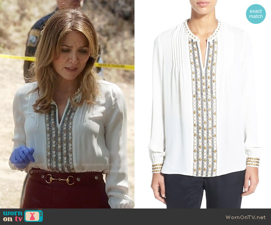 Kobi Halperin 'Ingrid' Embellished Silk Split Neck Blouse worn by Sasha Alexander on Rizzoli & Isles