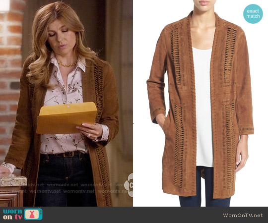 Kobi Halperin 'Willow' Stitch Detail Suede Open Front Coat worn by Connie Britton on Nashville