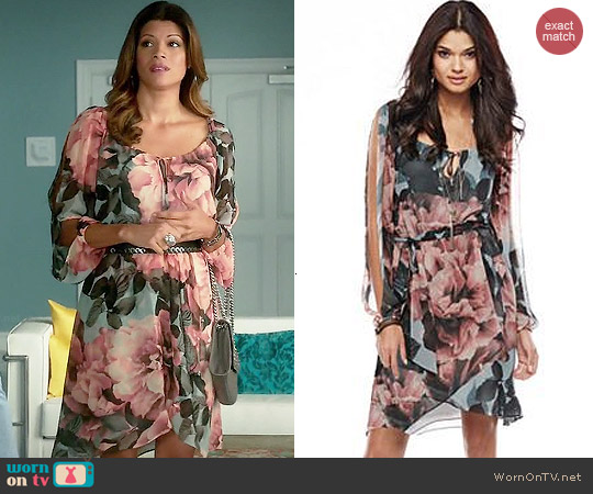 Kohls Jennifer Lopez Collection Floral Chiffon Dress worn by Andrea Navedo on Jane the Virgin