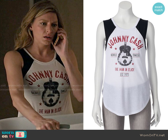 Kohls Juniors' Johnny Cash Raglan Muscle Tee worn by Jes Macallan on Mistresses