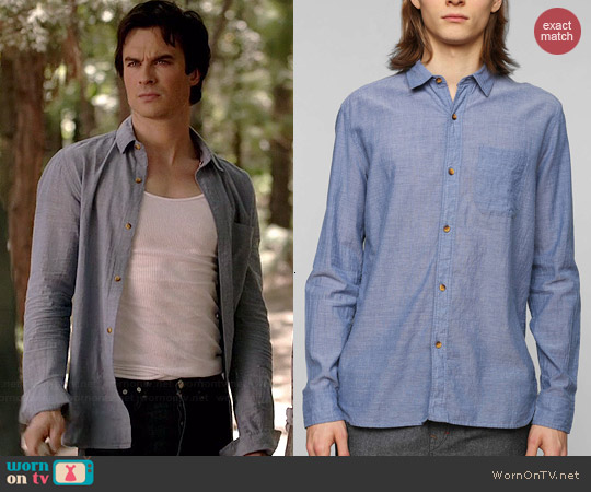 Koto Classic Breezy Button Down Shirt in Dark Blue worn by Ian Somerhalder on The Vampire Diaries