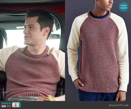 Koto Fleece Blocked Sweater worn by Michael Willett on Faking It