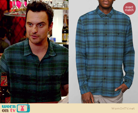 Koto UKA Overdyed Plaid Button-Down Shirt in Turquoise worn by Jake Johnson on New Girl