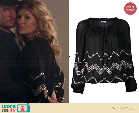 L'Agence Beaded Blouse worn by Connie Britton on Nashville