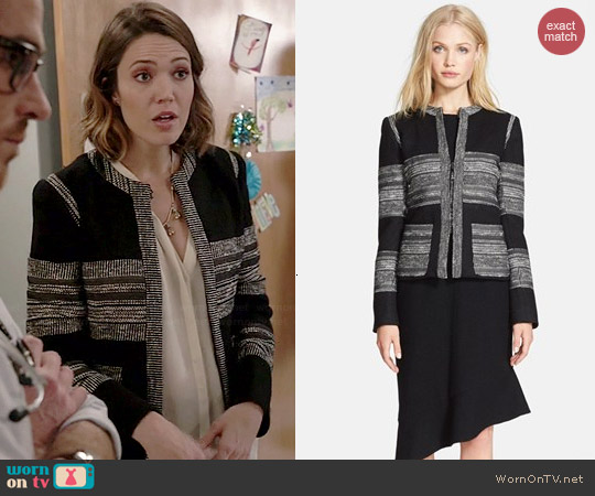 L'Agence Boucle Striped Jacket worn by Mandy Moore on Red Band Society