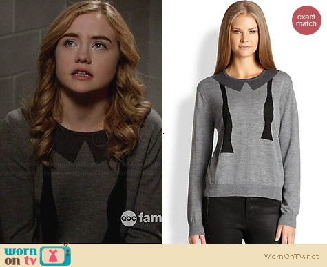 L'Agence Bowtie Intarsia Wool Sweater worn by Maddie Hasson on Twisted