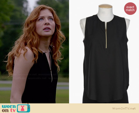 L'Agence Contrast Trim Sleeveless Blouse worn by Rachelle Lefevre on Under the Dome