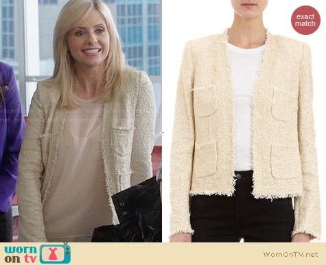 L'Agence Cropped Pearl Frayed Jacket worn by Sarah Michelle Gellar on The Crazy Ones