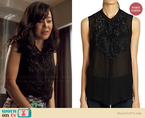 L'Agence Embellished Silk Tuxedo Blouse worn by Yunjin Kim on Mistresses
