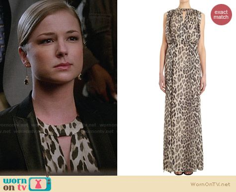 L'Agence Leopard Print Maxi Keyhole Dress worn by Emily VanCamp on Revenge