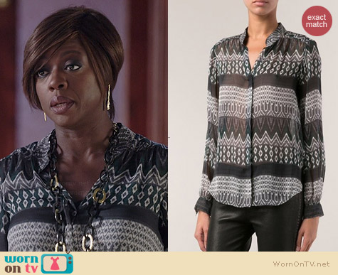 L'Agence Printed Blouse worn by Viola Davis on HTGAWM