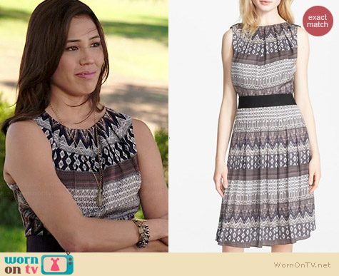 L'Agence Print Pleated Satin Dress worn by Michaela Conlin on Bones