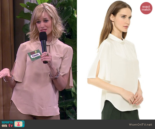 L'Agence Rolled Neck Flutter Sleeve Blouse worn by Beth Behrs on 2 Broke Girls