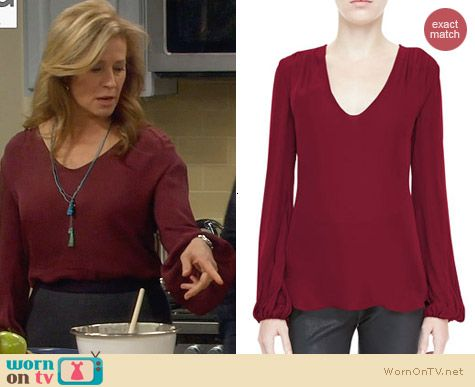 L'Agence Ruch Shoulder Silk Blouse worn by Nancy Travis on Last Man Standing