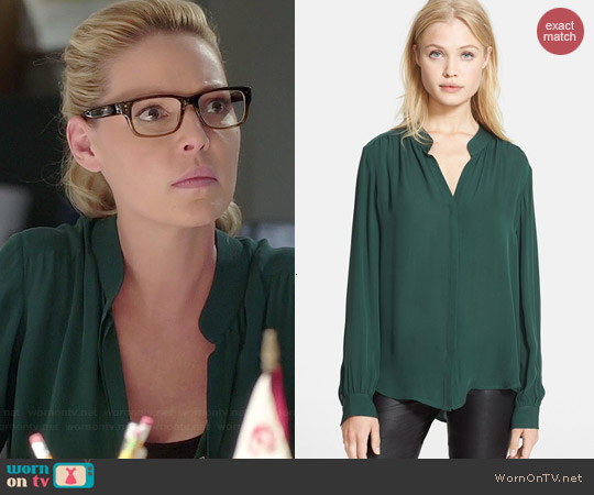 L'Agence Silk Georgette Blouse in Teal Green worn by Katherine Heigl on State of Affairs