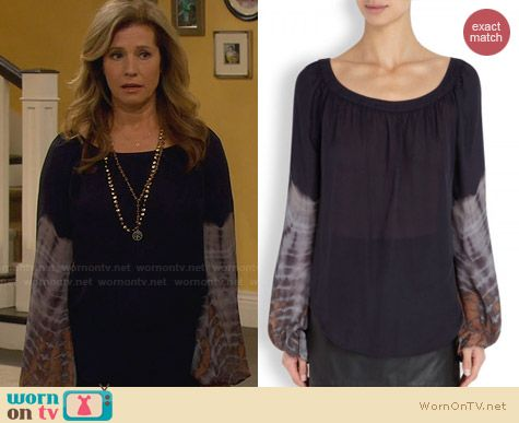 L'Agence Tie Dye Silk Chiffon Blouse worn by Nancy Travis on Last Man Standing