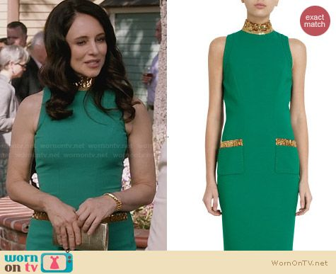 L'Wren Scott Beaded Accent Sheath Dress worn by Madeleine Stowe on Revenge