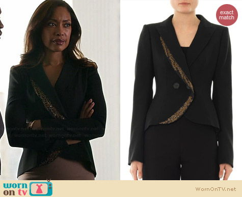 L'Wren Scott Embroidered Fishtail Jacket worn by Gina Torres on Suits