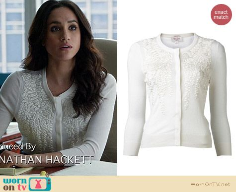 L'Wren Scott Embroidered Cardigan worn by Meghan Markle on Suits