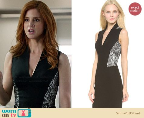 L'Wren Scott Lace Panel Sheath Dress worn by Sarah Rafferty on Suits