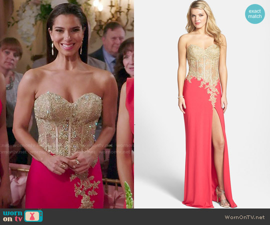 La Femme Embellished Corset Jersey Gown worn by Roselyn Sanchez on Devious Maids