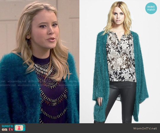 LA List Eyelash Open Cardigan worn by Lennox Scanlon on Melissa & Joey