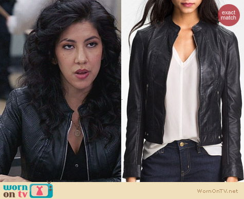LaMarque Perforated Leather Jacket worn by Stephanie Beatriz on Brooklyn 99