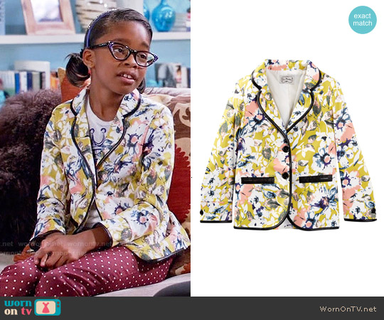 La Miniatura Faux Leather Trim Floral Blazer worn by Diane Johnson on Blackish
