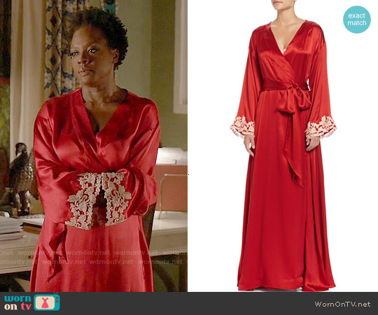 La Perla Maison Lace-Trim Long Robe worn by Viola Davis on HTGAWM