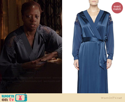 La Perla Recamato Lace-Tulle Satin Robe worn by Viola Davis on HTGAWM