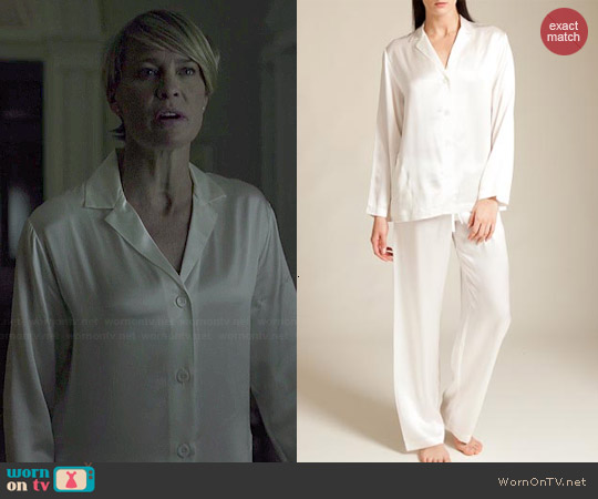 La Perla Seta Pajamas in Ivory worn by Robin Wright on House of Cards