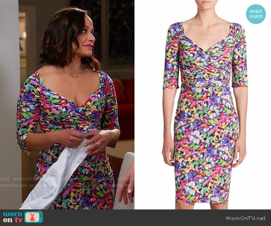 La Petite Robe Ruched Floral Sheath Dress worn by Judy Reyes on Devious Maids