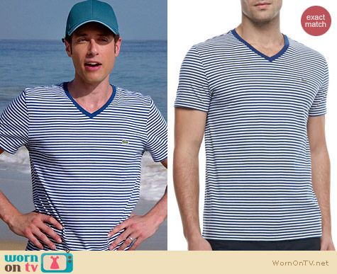 Lacoste Striped V-Neck Tee in Navy worn by Paulo Constanzo on Royal Pains