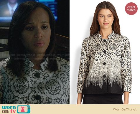 Lafayette 148 Carmina Jacquard Jacket worn by Kerry Washington on Scandal