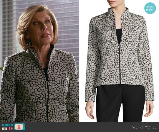 Lafayette 148 New York Amia Leopard Jacquard Jacket worn by Christine Baranski on The Good Wife