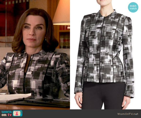 Lafayette 148 New York Graphic Print Jacket worn by Julianna Margulies on The Good Wife
