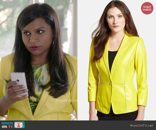 Lafayette 148 New York Lambskin Leather Blazer worn by Mindy Kaling on The Mindy Project