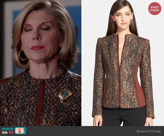 Lafayette 148 NY Yelena FAux Leather Trim Tweed Jacket worn by Christine Baranski on The Good Wife