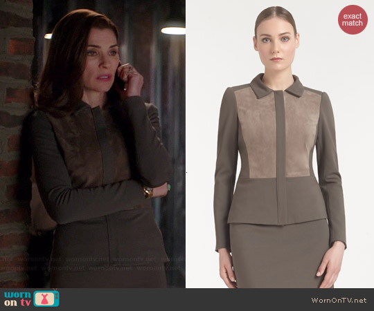 Lafayette 148 NY Italian Punto Milano Suede Panel Jacket worn by Julianna Marguilies on The Good Wife
