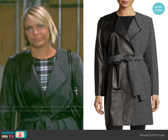 Lafayette 148 New York Leather Panel Belted Wool Coat worn by Nicole Walker on Days of our Lives