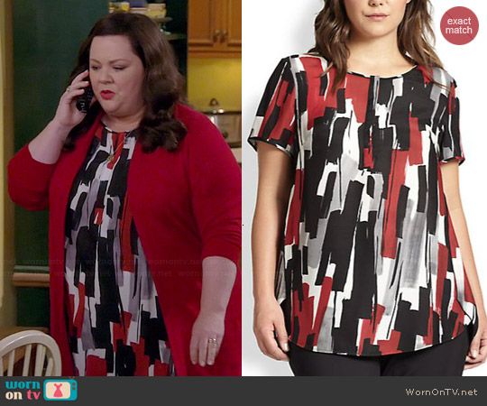 Lafayette 148 NY Silk Shari Brushstroke Print Top worn by Melissa McCarthy on Mike & Molly