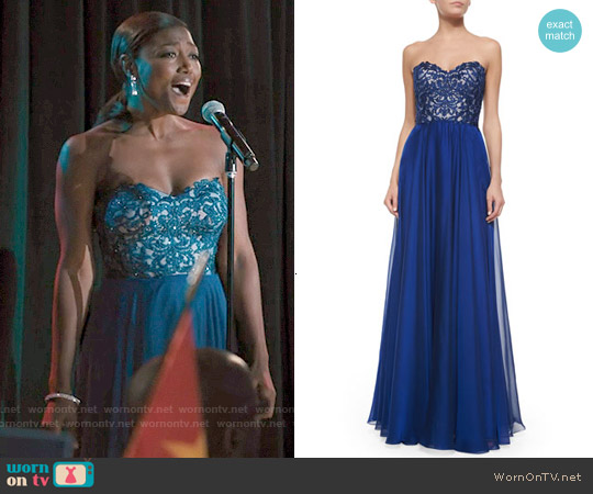 La Femme Strapless Lace-Bodice Flowy Gown worn by Patina Miller on Madam Secretary