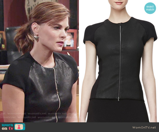 L'Agence Ponte-Leather Zip-Front Top worn by Gina Tognoni on The Young & the Restless