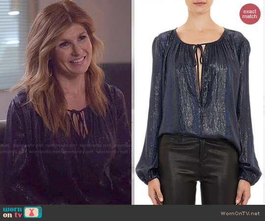 L'Agence Python-Embossed Peasant Blouse worn by Connie Britton on Nashville