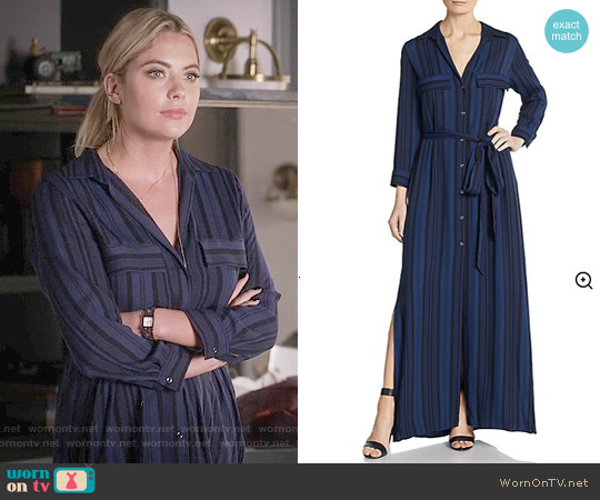 L'Agence Alani Striped Maxi Dress worn by Ashley Benson on PLL